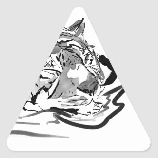 The Tranquil Tiger Triangle Sticker