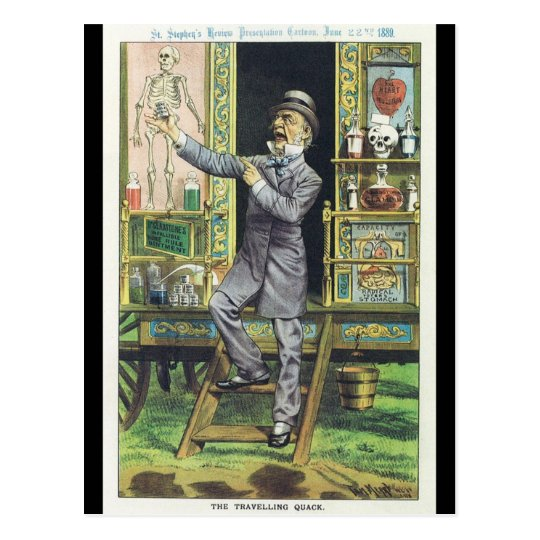 """The Traveling Quack"" Snake Oil Salesman Postcard"