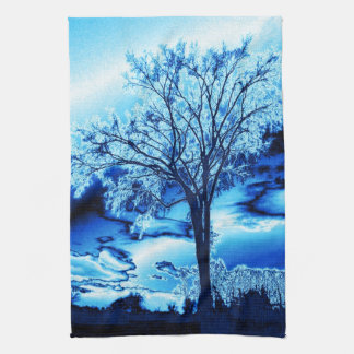 The Tree in Blue Ice Kitchen Towel