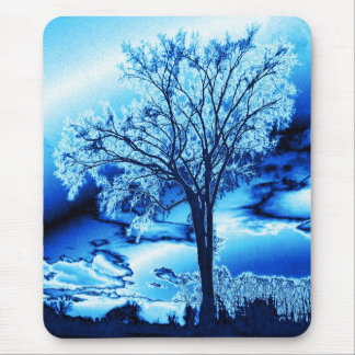The Tree in Ice Blue mouse pad
