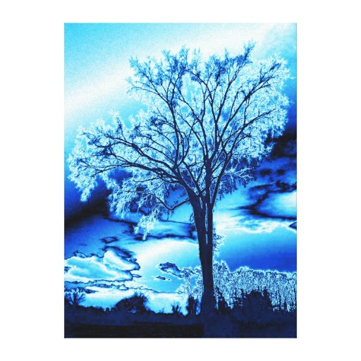The Tree in Ice Blue on Canvas