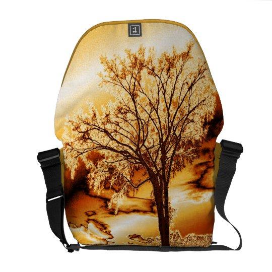 The Tree in Molten Gold Rickshaw Messenger Bag