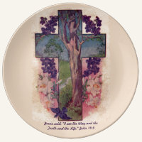The Tree Of Life Cross Christian Porcelain Plate