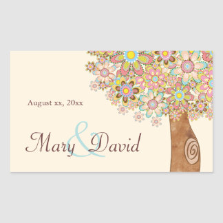 The Tree of Love Save the Date Rectangular Sticker