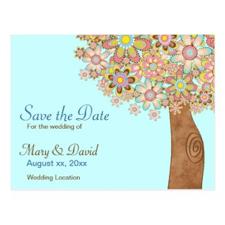 The Tree of Love Wedding Save the Date Postcard
