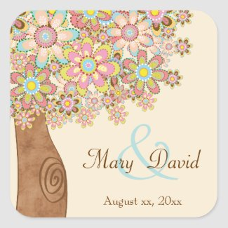 The Tree of Love Wedding Square Stickers