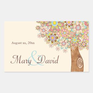 The Tree of Love Wedding Rectangular Stickers