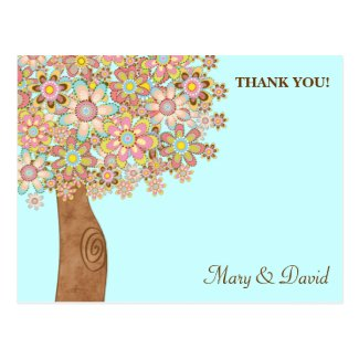 The Tree of Love Wedding Thank You Postcards