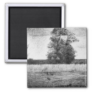 The trees by Georges Seurat 2 Inch Square Magnet