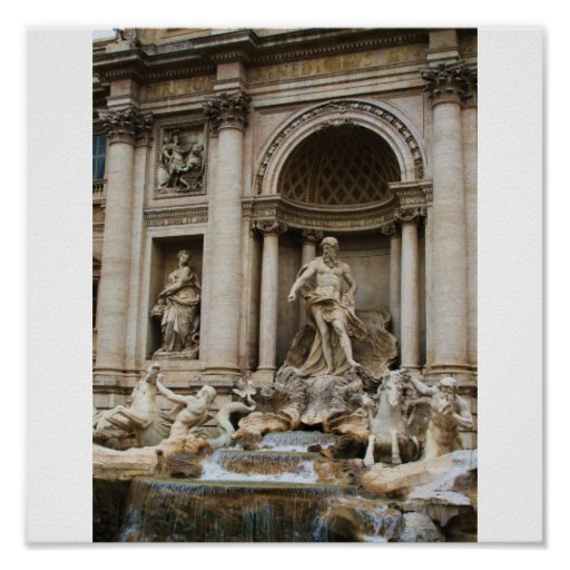 The Trevi Fountain in the City of Rome Poster