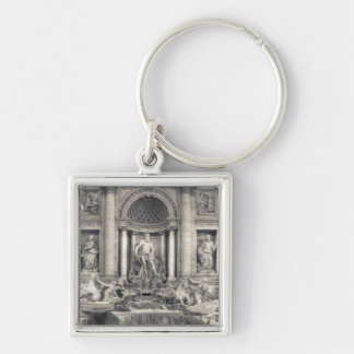 The Trevi Fountain (Italian: Fontana di Trevi) 4 Silver-Colored Square Keychain