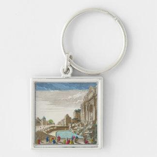 The Trevi Fountain, Rome Silver-Colored Square Keychain