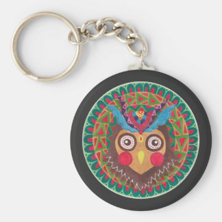 The Tribal Great Horned Owl Basic Round Button Keychain