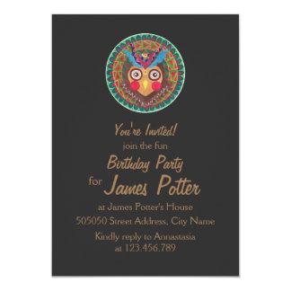 The Tribal Great Horned Owl Birthday Invitation