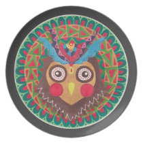 The Tribal Great Horned Owl Dinner Plate