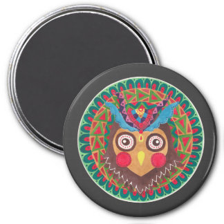 The Tribal Great Horned Owl 3 Inch Round Magnet
