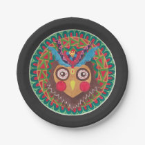 The Tribal Great Horned Owl Paper Plate