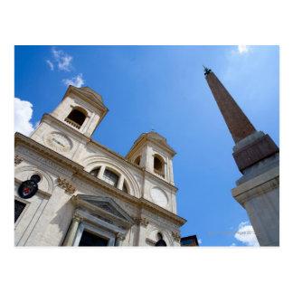 The Trinita dei Monti church in Rome, Italy is Postcard