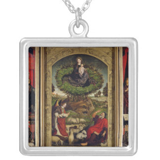 The Triptych of Moses and the Burning Bush Silver Plated Necklace