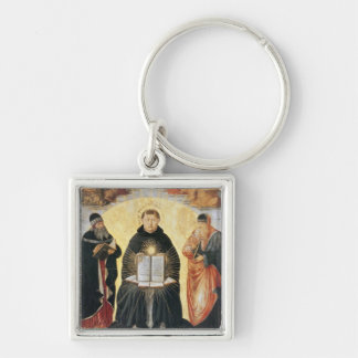 The Triumph of St. Thomas Aquinas Silver-Colored Square Keychain