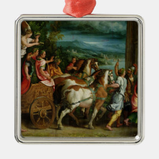 The Triumph of Titus and Vespasian, c.1537 Square Metal Christmas Ornament