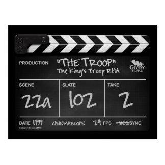 THE TROOP clapper board design postcard. Postcard