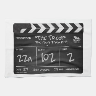 THE TROOP FILM tea towel clapperboard design