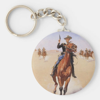 The Trooper by Frederic Remington Keychain