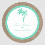 The Tropical Palm Tree Beach Wedding Collection Classic Round Sticker