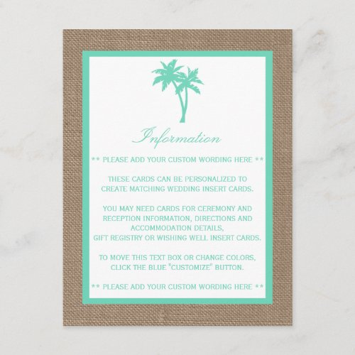 The Tropical Palm Tree Beach Wedding Collection Enclosure Card
