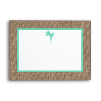 The Tropical Palm Tree Beach Wedding Collection Envelope