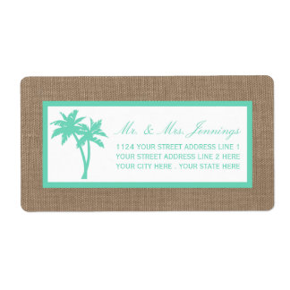 The Tropical Palm Tree Beach Wedding Collection Label