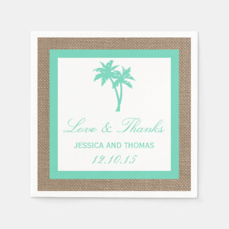 The Tropical Palm Tree Beach Wedding Collection Paper Napkin