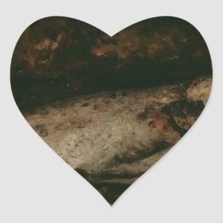 The Trout by Gustave Courbet Heart Sticker