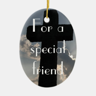 The True Meaning of Friendship (1 Corinthians 13) Double-Sided Oval Ceramic Christmas Ornament