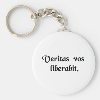 The truth will set you free. basic round button keychain