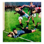 The Try - Vintage Rugby Art On Canvas Poster