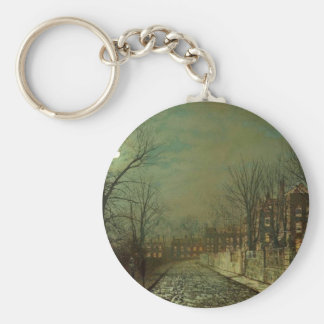 The Trysting Tree by John Atkinson Grimshaw Basic Round Button Keychain