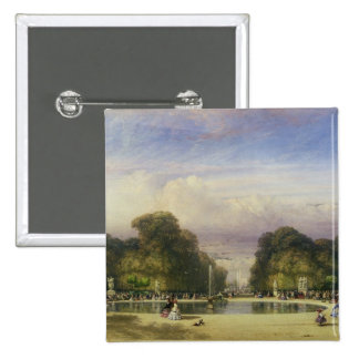 The Tuileries Gardens, with the Arc de Triomphe in Pinback Button