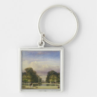 The Tuileries Gardens, with the Arc de Triomphe in Silver-Colored Square Keychain