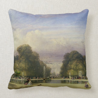 The Tuileries Gardens, with the Arc de Triomphe in Throw Pillow