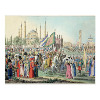 The Turkish Sultan reviewing his Janissaries (engr Postcard