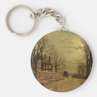 The Turn of the Road by John Atkinson Grimshaw Basic Round Button Keychain