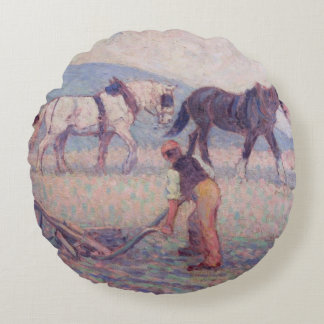 The Turn-Rice Plough, c.1909 (oil on canvas) Round Pillow