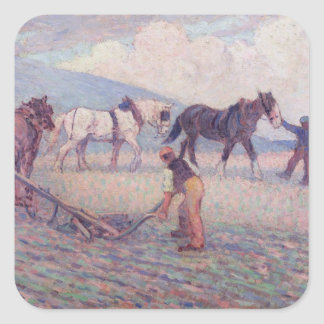 The Turn-Rice Plough, c.1909 (oil on canvas) Square Sticker