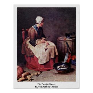 The Turnip Cleaner By Jean-Baptiste Chardin Poster