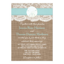 The Turquoise Sand Dollar Beach Wedding Collection 5x7 Paper Invitation Card