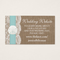 The Turquoise Sand Dollar Beach Wedding Collection Business Card at Zazzle
