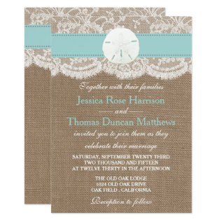 The Turquoise Sand Dollar Beach Wedding Collection Card at Zazzle