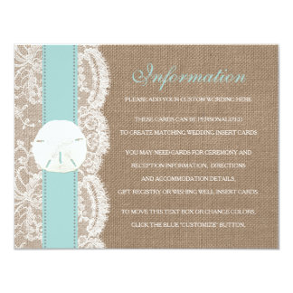 The Turquoise Sand Dollar Beach Wedding Collection 4.25x5.5 Paper Invitation Card